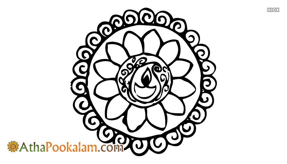 Simple Athapookalam Outline Designs